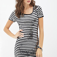 FOREVER 21 Sequined Striped Bodycon Dress Black/Silver