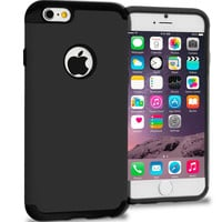 Black / Black Hybrid Slim Hard Soft Rubber Impact Protector Case Cover for Apple iPhone 6 Plus 6S Plus (5.5)