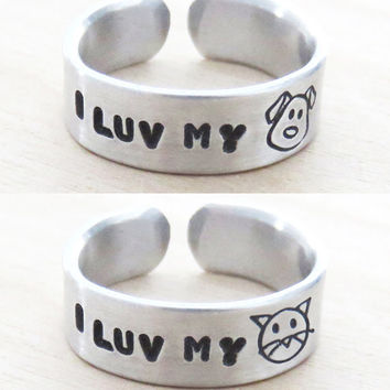 Cat ring dog ring - I luv my dog I love my cat jewelry - Animal lover accessories (Pick one)