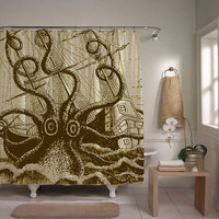 Giant octopus attack shower curtain