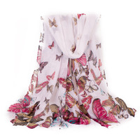 Multicolor Butterfly Scarf