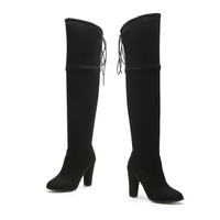 Over The Knee Boots Square High Heel up to size 12