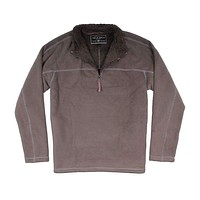 Bonded Polar Fleece & Sherpa Lined 1/4 Zip Pullover with Pockets in Vintage Olive by True Grit