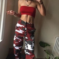 Don't Waist My Time Burgundy Camo Joggers