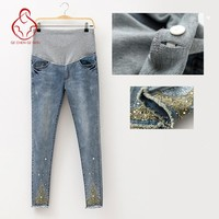 2017 Spring Jeans Maternity Pregnant Women Pants Fashion Hot Beads Maternity Pants Pregnant Trousers Maternity Pregnant Clothes