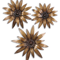 Golden Gazanias Metal Wall Art, Set/3