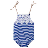 Cute Newborn Baby Girls Bodysuit Clothes 2017 Infant Bebes Lace Striped Babies Bodysuits Elegant Jumpsuit Outfit Sunsuit 0-18M