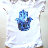 Blue hamsa hand bohemian unisex Baby Onesuit for boys and girls
