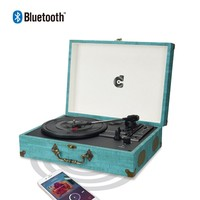 Wockoder Portable Vinyl Record Player Bluetooth 3speed Turntable USB/SD,Blue