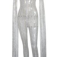 Sequin Cape Extra Long Sleeve Stripes Sequin Sequins Bodysuit Jumpsuit. 3 colors