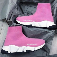 Balenciaga hot sale classic knitted embroidery high-top socks shoes sneakers