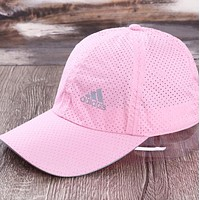 Adidas New fashion letter print mesh couple cap hat Pink