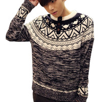 Black and White Geo Print Front Detail Knitted Sweater