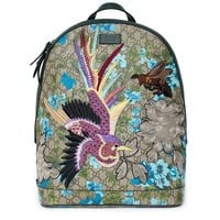 ONETOW Gucci XL GG Floral Print Backpack Bag Leather Spring Embroidery Bird Italy New