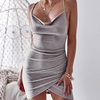 New Sexy Dress Women Bodycon Sleeveless Backless Glitter Sequin Pencil Dresses Evening Party Dress Femme Short Mini Sundress
