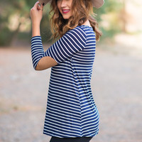 Between The Lines Elbow Patched Top (Navy)