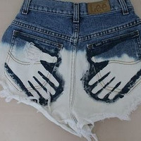 High waisted shorts half bleached half denim- traced hand print on back pocket