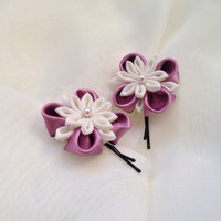 Beautiful Flower hair pin Flower Fabric flower Satin hair pin Satin flower Bobby pin Party Girl Snowlake hairpins