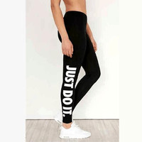 """ NIKE ""Fashion women Sports trousers ""just do it""print Black pants"