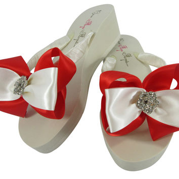 Red Satin Rose Rhinestone Bow Flip Flops