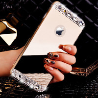 Rose Gold Makeup Mirror Case Handmade Cover for iPhone 7 7Plus & iPhone se 5s 6 6 Plus +Gift Box