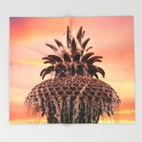 Pineapple Fountain Pink Throw Blanket by Legends Of Darkness Photography