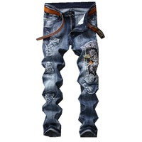 New Men Jeans Eagle Wing Biker Denim Pants Male Rap Casual Hole Ripped Punk Jeans Slim Fit Holes Straight Embroidered Pants