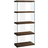 """Brown, Particle Board, Tempered Glass - Bookcase 12"""" x 24"""" x 58'.75"""""""