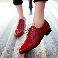 Patent Leather Lace Up Neutral Low Heel Casual Oxfords Pointed Toe Ankle Women shoes top size US 9