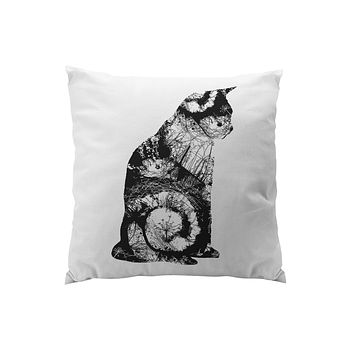 Throw Pillows for Couches / Cat Sitting in black Chris Keegan