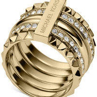 Michael Kors Gold-Tone Clear Pavé Stackable Pyramid Ring