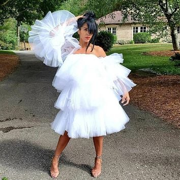 Plus Size High Fashion Ruffle Tulle Dress With Detachable Sleeves