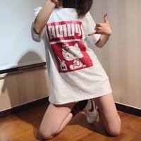 """Puma x Hello Kitty"" Women Casual Cartoon Letter Print Couple Short Sleeve Cotton T-shirt Top Tee"