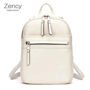 Zency Brand Luxury Fashion Oil Wax Cowhide Women Girl Female Genuine Leather Backpack Real Leather Woman Tote Bags