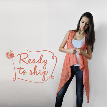 FREE SHIPPING Pure cotton vest Knitted coral long vest Spring summer vest Lace stitch Light orange vest Lightweight overcoat Ready to ship