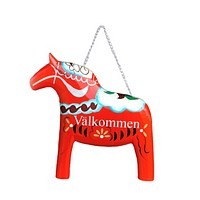 Wood Red Dala Horse Entryway Sign