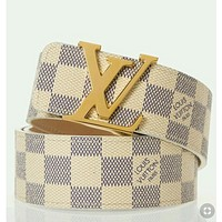 Louis Vuitton LV Classic Stylish Woman Men Smooth Buckle Leather Belt I/A