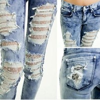 Distressed Ripped TIE DYE BLUE Skinny Jeans, Lace Lined, Destroyed, UK 6,8,10