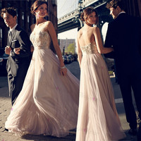 Sleeveless A-Line Floor Length Prom Dresses