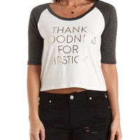 Charcoal Combo Lipstick Graphic Baseball Tee by Charlotte Russe