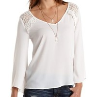 Crochet Yoke Bell Sleeve Top by Charlotte Russe