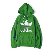 ADIDAS GREEN HOODIE FASHION WOMEN MEN LONG SLEEVE SWEATER TOP