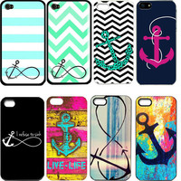 Sailor Anchor printing plastic protective Hard back case cover For iphone 5G 4G