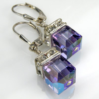 Tanzanite Purple Earrings, Swarovski Crystal Dangle, Violet, Sterling Silver, Wedding Bridal Bridesmaid, Handmade Jewelry Spring Fashion