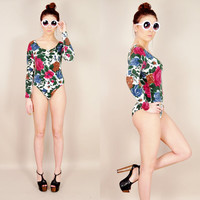 VINTAGE 90s grunge ivory floral revival stretch knit scoopneck bodycon bodysuit catsuit