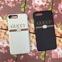 Gucci Unisex Simple Letter Leather iPhone8/6S Phone Hard Shell iPhone7 Plus Apple Couple Phone Case
