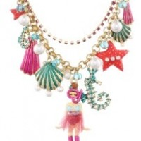 """Betsey Johnson """"Jewels of the Sea"""" Scuba Girl Multi-Charm Necklace, 20"""""""