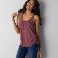 AEO Henley Tank, Maroon Lagoon   American Eagle Outfitters