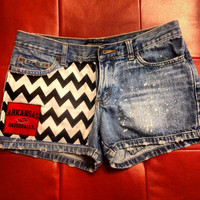 Custom Arkansas Razorback bleached Shorts Chevron Multi Logo