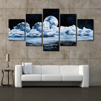 2016 Sale Fallout Paintings Cheap-wall-frames 5 Panels Moon Canvas Print Painting Modern Wall Art For Pcture Home Decor Artwork